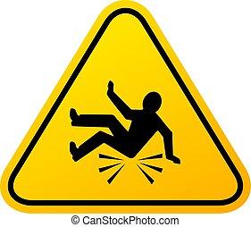 incidente, segno, cadere, avvertimento
