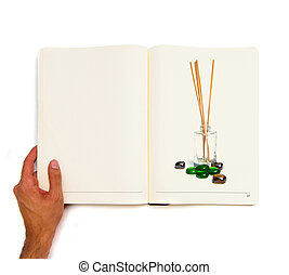 incienso, impreso, blanco, libro