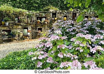incinération, et, enterrement, jardin
