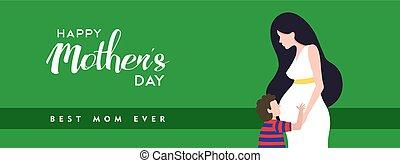 incinta, madri, illustrazione, mamma, bandiera, giorno, felice