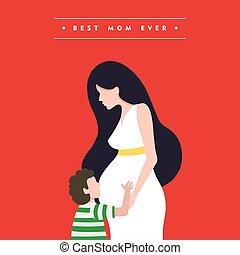 incinta, madri, illustrazione, mamma, giorno, scheda, felice