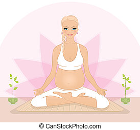 incinta, yoga, donna, esercizi