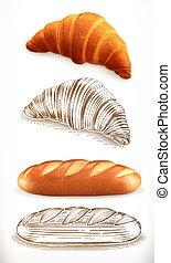 incisione, bread., croissant, illustrazione, vettore, loaf., styles., realismo, 3d