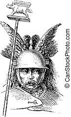incisione, casco, normanno, vendemmia, galea, o