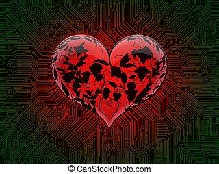 incisione, cuore, assi, circondare, rose, ardendo, computer, sfondo verde, rosso