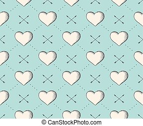 incisione, cuore, stile, illustration., modello, frecce, seamless, valentina, day., vettore, turchese, fondo, vendemmia, mano, drawn.