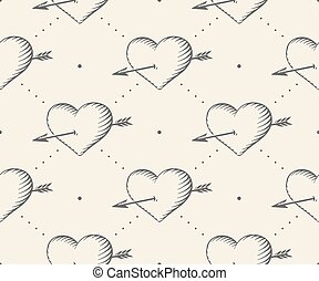 incisione, cuore, stile, illustration., modello, seamless, valentina, day., vettore, sfondo beige, vendemmia, freccia, mano, drawn.