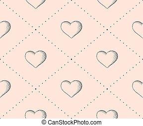 incisione, cuore, stile, illustration., vendemmia, seamless, valentina, day., vettore, sfondo beige, modello, mano, drawn.