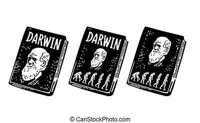 incisione, evoluzione, teoria, vendemmia, human., libro, darwin, man., scimmia