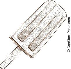incisione, ghiacciolo, illustrazione
