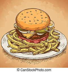 incisione, hamburger, illustrazione