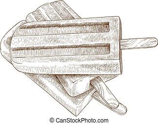 incisione, illustrazione, tre, ghiaccioli