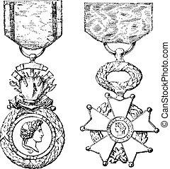 incisione, medaglia, onore, legione, vendemmia, croce, ...