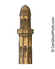 incisione, minaret., vendemmia, illustrazione, vettore, nero