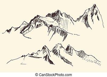 incisione, montagne, disegnare, mano, vettore, contorni
