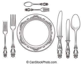 incisione, piastre, cena, coltelleria