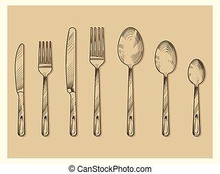 incisione, schizzo, set, forchetta, vendemmia, coltelleria, mano, cucchiaio, vettore, disegnato, coltello, stile, design.