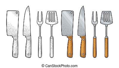 incisione, set, forchetta, spatola, colorare, utensils., knifes., vettore, bbq