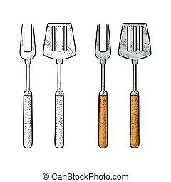 incisione, set, spatola, fork., utensils., isolato, vettore, bianco, bbq
