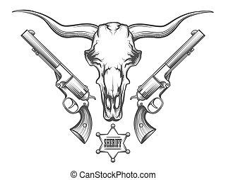 incisione, stile, cranio, rivoltelle, toro, disegnato