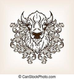 incisione, testa, ornamento, vettore, bisonte, floreale