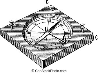 incisione, vendemmia, o, circumferentor, bussola, surveyor's