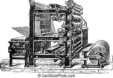 incisione, vendemmia, rotante, torchio tipografico, marinoni