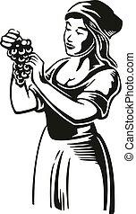 incisione, web, manifesto, vendemmia, illustrazione, vineyard., vettore, uva nera, icona, etichetta, donne, raccogliere, design.