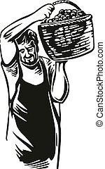 incisione, web, manifesto, vendemmia, uomini, illustrazione, vineyard., vettore, uva nera, icona, etichetta, raccogliere, design.