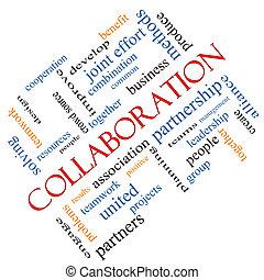 incliné, collaboration, concept, mot, nuage