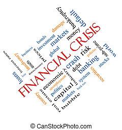 incliné, concept, financier, mot, crise, nuage