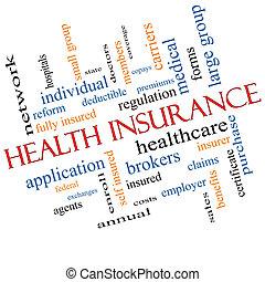 incliné, concept, mot, assurance maladie, nuage