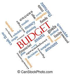 incliné, concept, mot, budget, nuage