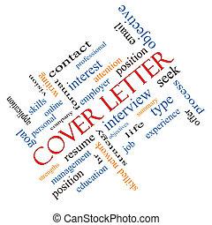 incliné, concept, mot, couverture, lettre, nuage