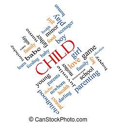 incliné, concept, mot, nuage, enfant