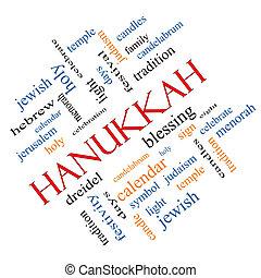 incliné, concept, mot, nuage, hanukkah