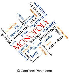 incliné, concept, mot, nuage, monopole