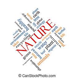 incliné, concept, mot, nuage, nature