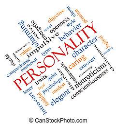 incliné, concept, mot, nuage, personnalité