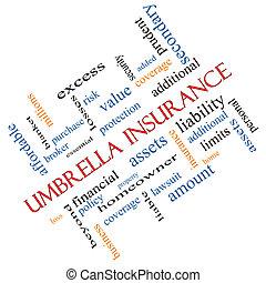 incliné, concept, mot, parapluie, assurance, nuage