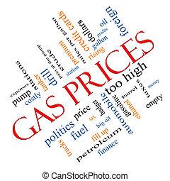 incliné, concept, mot, prix gaz, nuage