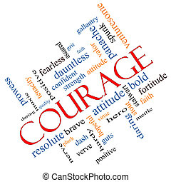incliné, courage, concept, mot, nuage