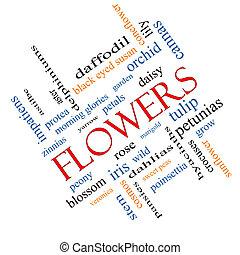 incliné, fleurs, concept, mot, nuage
