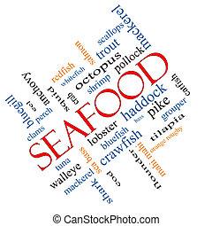 incliné, fruits mer, concept, mot, nuage