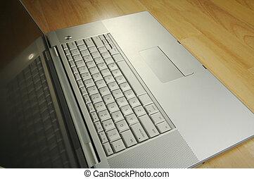 incliné, ordinateur portable, image, bureau
