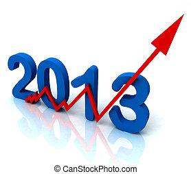 incliné, ventes, 2013, flèche, année, rouges, spectacles