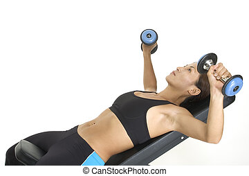 Incline Press 1 - A female fitness instructor demonstrates...
