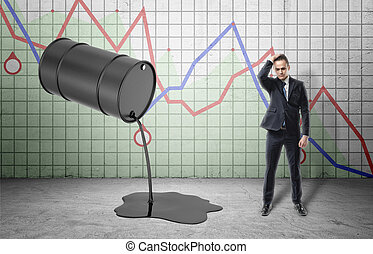 Inclined barrel with oil pouring out of it and frustrated businessman