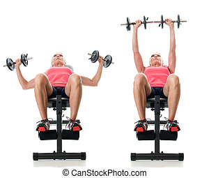 Inclined Dumbbell Bench Press - Inclined dumbbell bench...