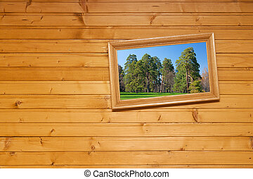 Inclined picture on wooden wall - Inclined picture frame but...